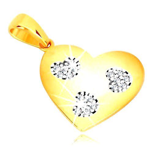 Prívesok v žltom zlate 585 - symetrické srdce so srdiečkovými výrezmi