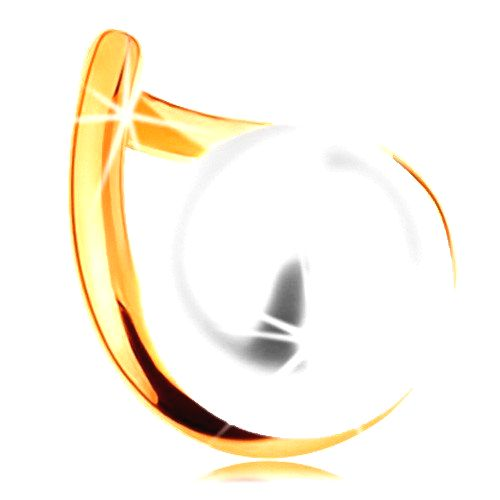 Prívesok v žltom zlate 585 - zvlnený obrys kvapky s guľatou bielou perlou