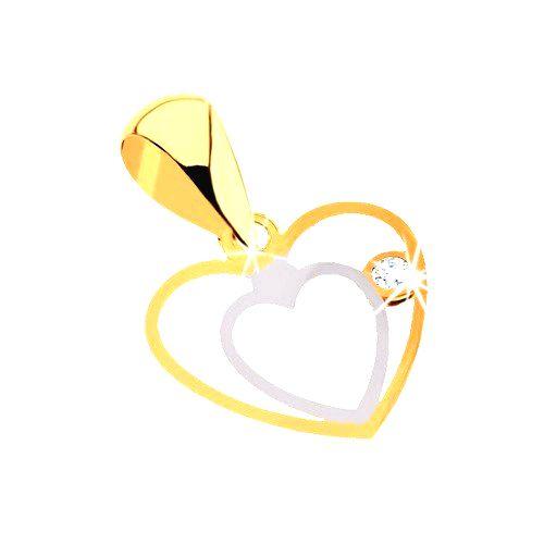 Prívesok z kombinovaného 9K zlata - jemný zdvojený obrys srdca