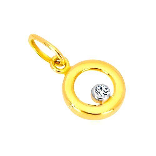 Prívesok z kombinovaného zlata 585 - lesklý krúžok