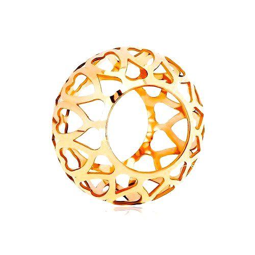 Prívesok z ružového 14K zlata - dutý valček s vyrezávanými srdiečkami