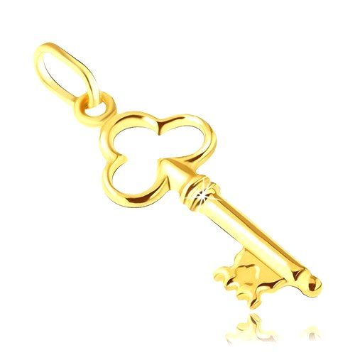 Prívesok zo 14K zlata - kľúčik s vykrojeným trojlístkom v hlavičke