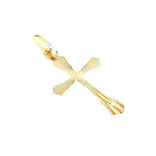 Prívesok zo 14K zlata - kríž s lúčovitými rozšírenými ramenami