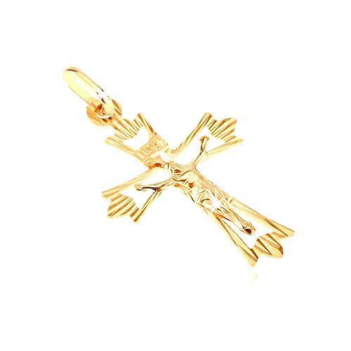 Prívesok zo 14K zlata - kríž s rozvetveným cípom s lúčmi a Kristom