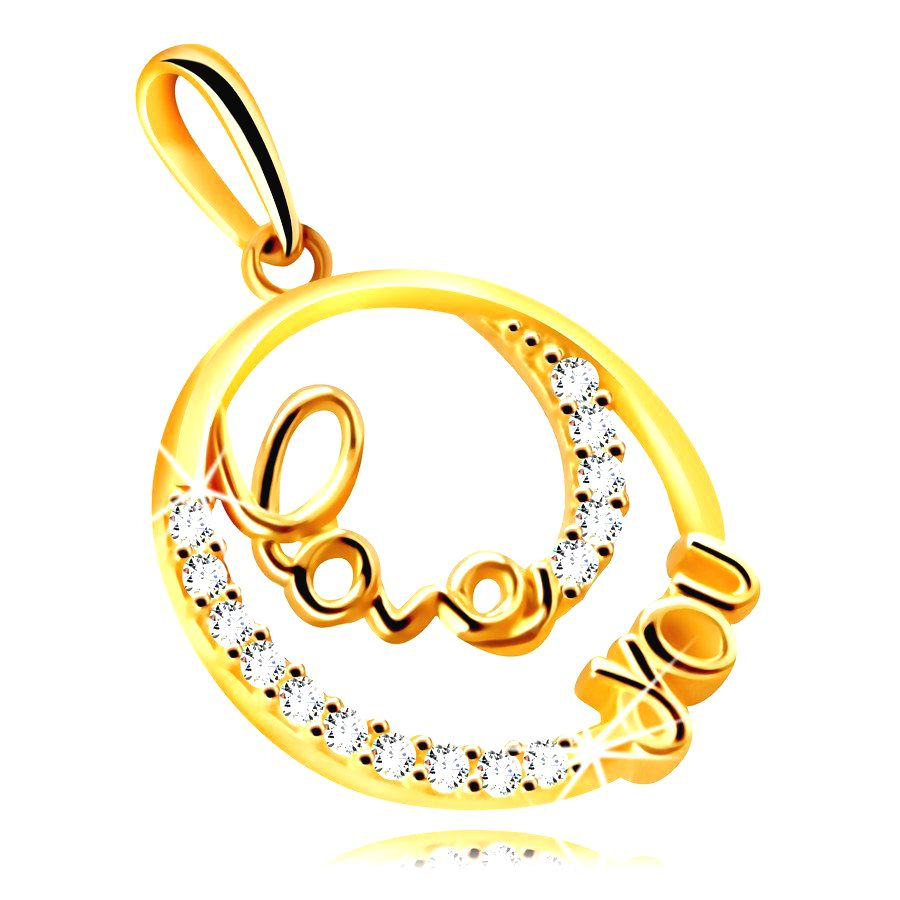 Prívesok zo 14K zlata - krúžok s ozdobným nápisom