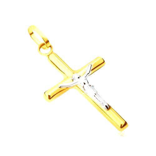 Prívesok zo 14K zlata - lesklý latinský kríž