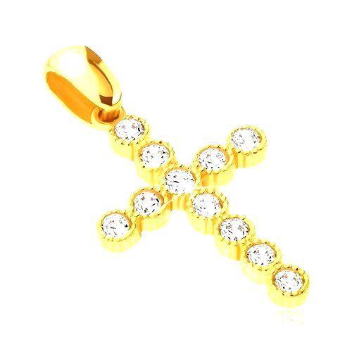 Prívesok zo 14K zlata - veľký kríž so zirkónmi v kruhových objímkach