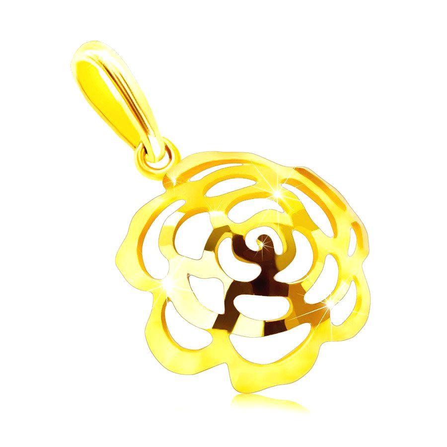 Prívesok zo 14K zlata - vypuklý kvietok v tvare polgule s výrezmi lupeňov