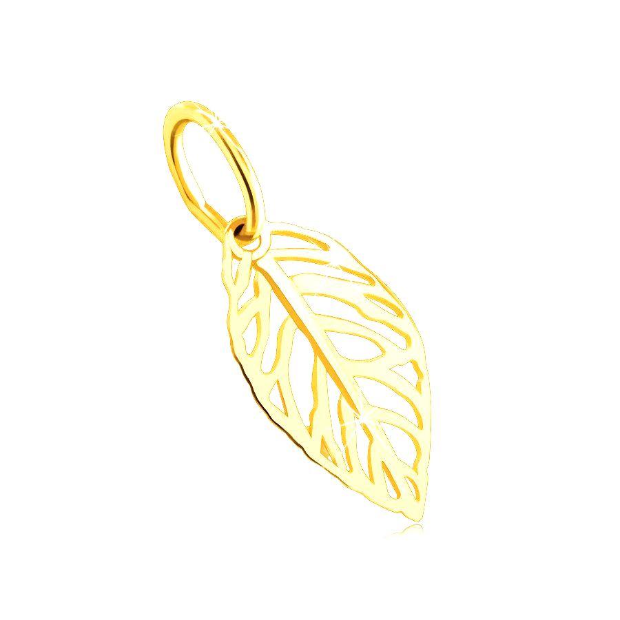 Prívesok zo 14K zlata - vyrezávaný list s hladkou žilkou