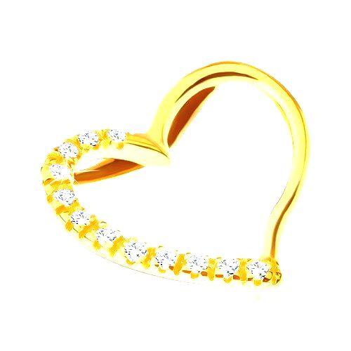 Prívesok zo 14K zlata - zahnuté srdce s jednou zirkónovou stranou