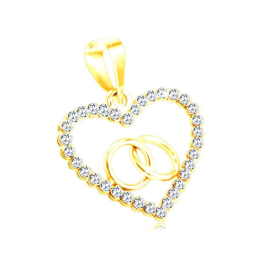 Prívesok zo 14K žltého zlata - obrys srdiečka