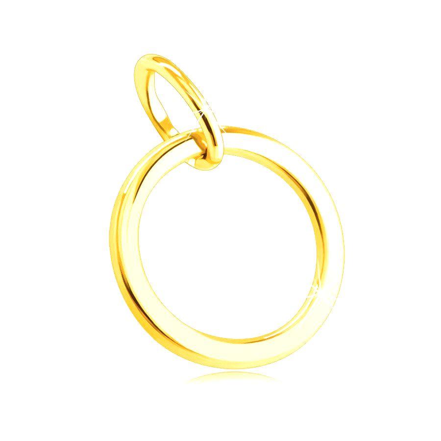 Prívesok zo 14K žltého zlata - tenký hladký obrys krúžku