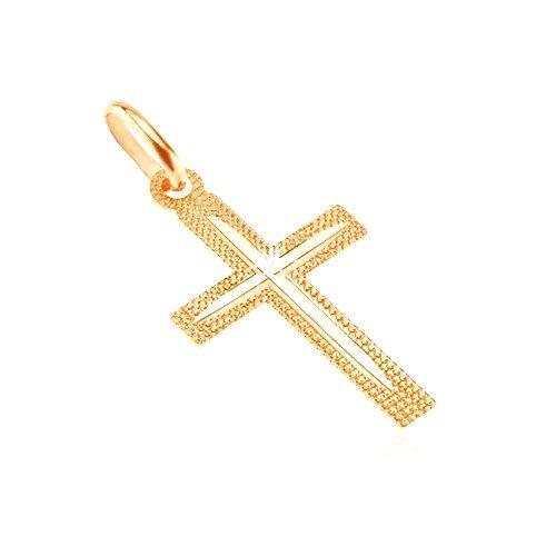 Prívesok zo zlata 14K - latinský trblietavý krížik s úzkym zárezom