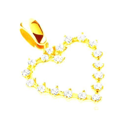 Prívesok zo zlata 14K - ozubené trblietavé srdiečko so zirkónmi