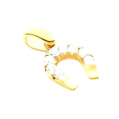 Prívesok zo zlata 14K - podkova pre šťastie zo zirkónmi