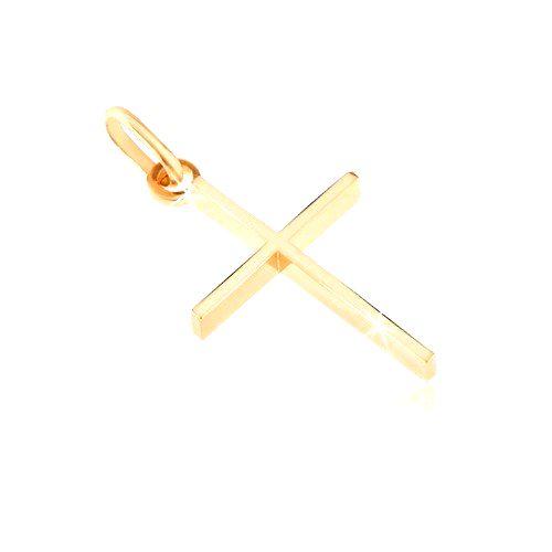Prívesok zo zlata 14K - tenký krížik s vysokými bočnými stranami