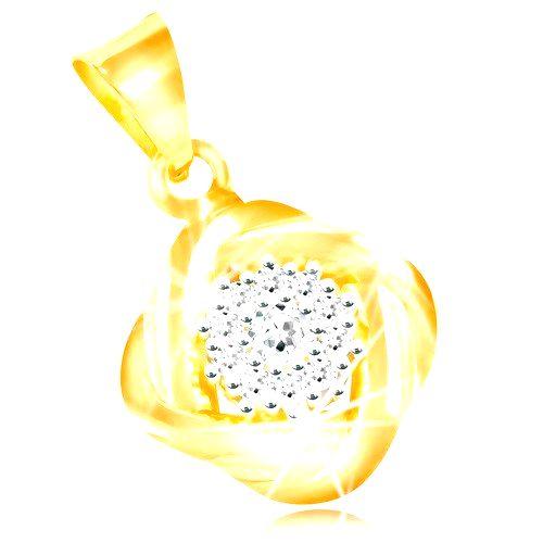 Prívesok zo zlata 585 - číry zirkónový kvet
