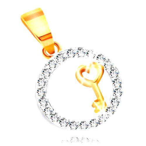 Prívesok zo zlata 585 - kľúčik so srdiečkom v obruči z čírych zirkónov