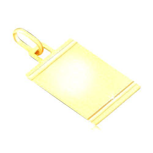 Prívesok zo zlata 585 - matná tabuľka s lesklými vodorovnými zárezmi