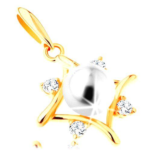 Prívesok zo žltého 14K zlata - kontúra kosoštvorca