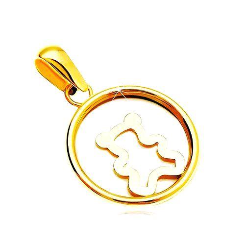 Prívesok zo žltého 14K zlata - kruh s bielou perleťou a medvedíkom