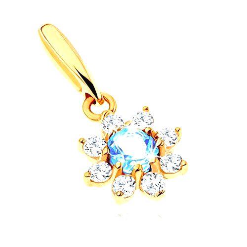 Prívesok zo žltého 14K zlata - kvet s modrým topásom