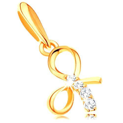 Prívesok zo žltého 14K zlata - lesklá uviazaná mašlička