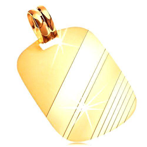 Prívesok zo žltého 14K zlata - obdĺžniková známka s lesklými a matnými pásmi