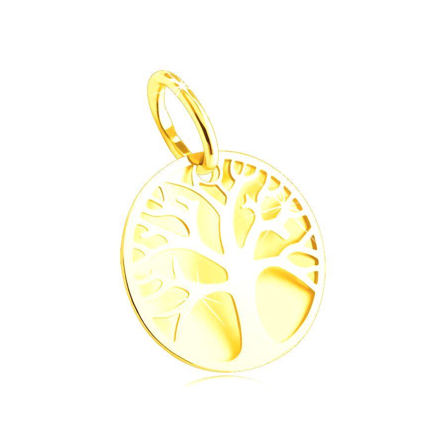 Prívesok zo žltého 14K zlata - okrúhly hladký podklad