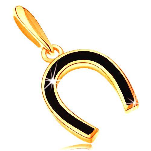 Prívesok zo žltého 14K zlata - podkovička pokrytá lesklou čiernou glazúrou