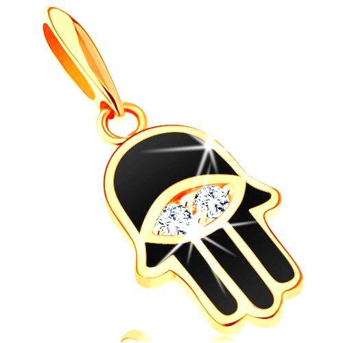 Prívesok zo žltého 14K zlata - ruka Fatimy pokrytá čiernou glazúrou