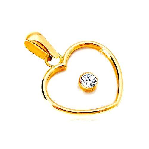 Prívesok zo žltého 14K zlata - srdce s perleťou a čírym zirkónom v strede