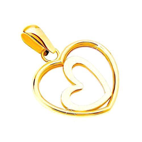 Prívesok zo žltého 14K zlata - srdce s perleťou a šikmým obrysom v strede