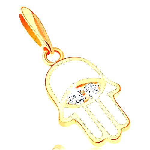 Prívesok zo žltého 14K zlata - symbol Hamsa pokrytý bielou glazúrou