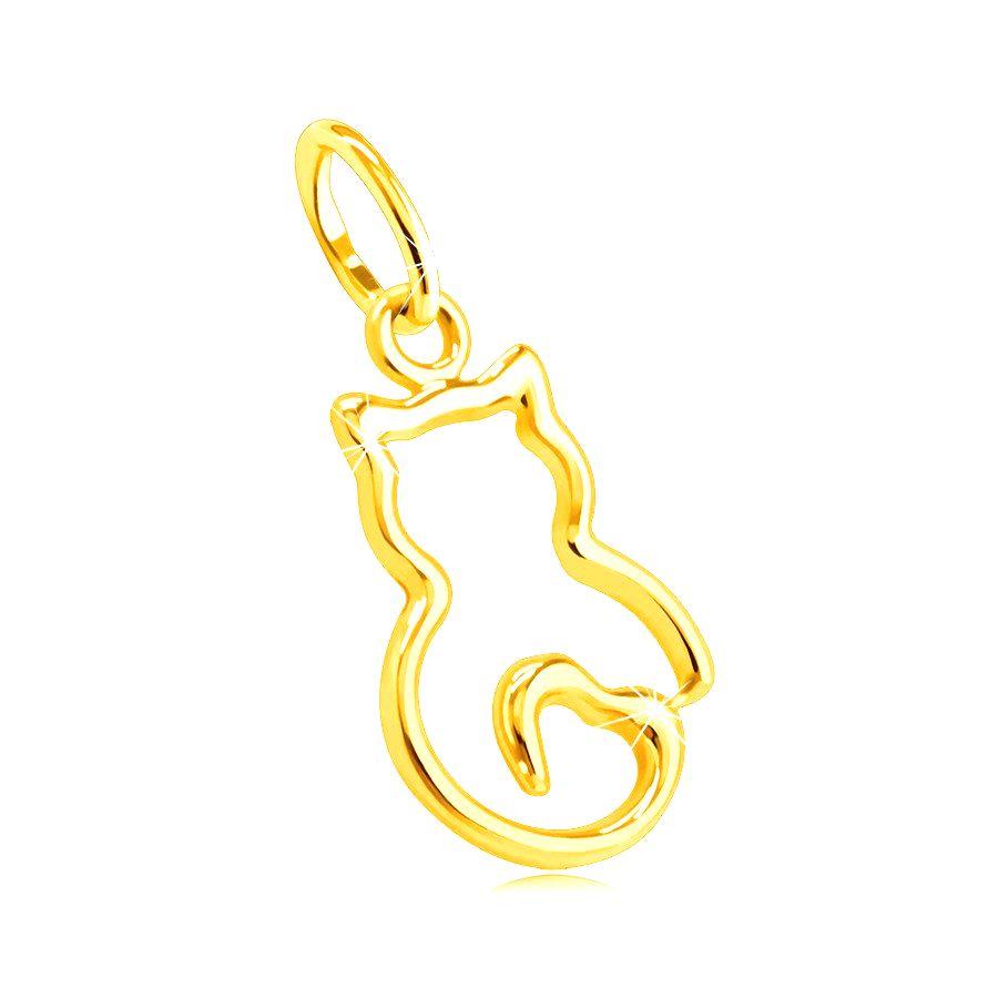 Prívesok zo žltého 14K zlata - tenký obrys mačičky s chvostíkom v tvare srdca