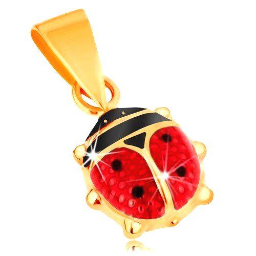 Prívesok zo žltého 14K zlata - vypuklá glazúrovaná červeno-čierna lienka