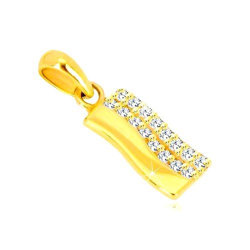 Prívesok zo žltého 14K zlata - zvlnený pás