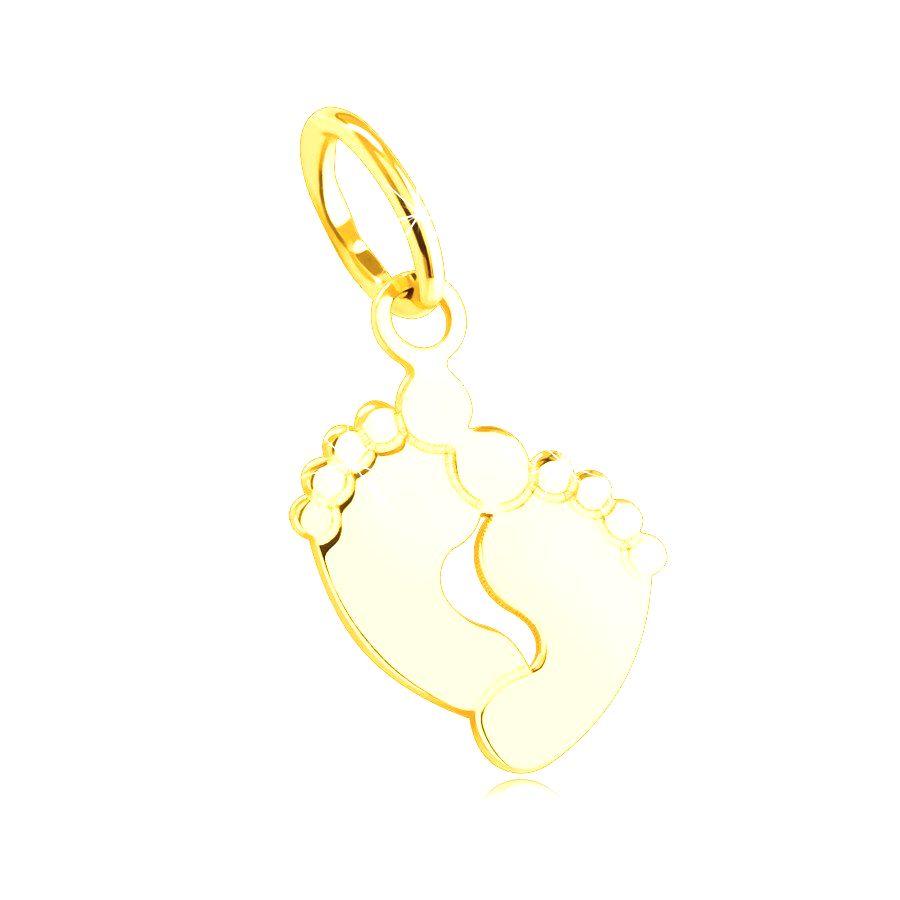 Prívesok zo žltého 585 zlata - spojené malé odtlačky nôh