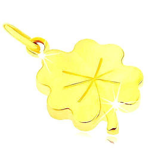 Prívesok zo žltého 9K zlata - lesklý plochý štvorlístok pre šťastie