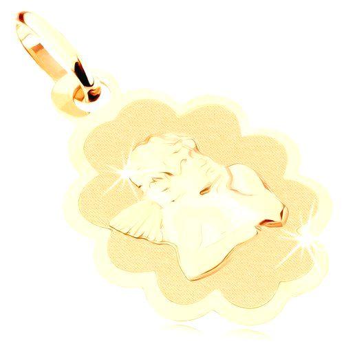 Prívesok zo žltého 9K zlata - matná známka s anjelom