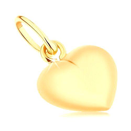 Prívesok zo žltého 9K zlata - obojstranne vypuklé srdiečko