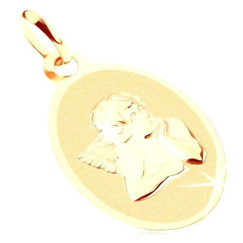 Prívesok zo žltého 9K zlata - oválny plochý medailón s anjelom