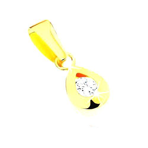 Prívesok zo žltého 9K zlata - slzička s okrúhlym čírym zirkónom v strede