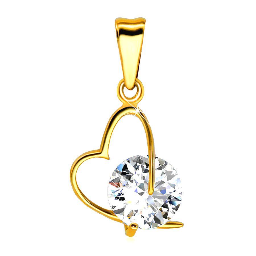 Prívesok zo žltého zlata 585 - kontúra asymetrického srdca