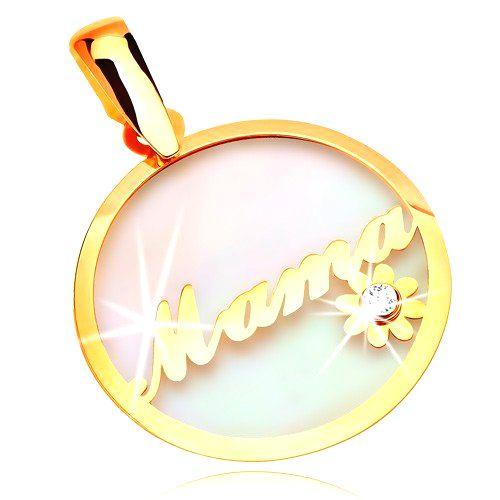 Prívesok zo žltého zlata 585 - kruh s nápisom Mama a kvietkom