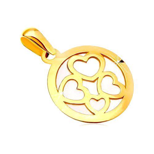 Prívesok zo žltého zlata 585 - kruh vyplnený bielou perleťou