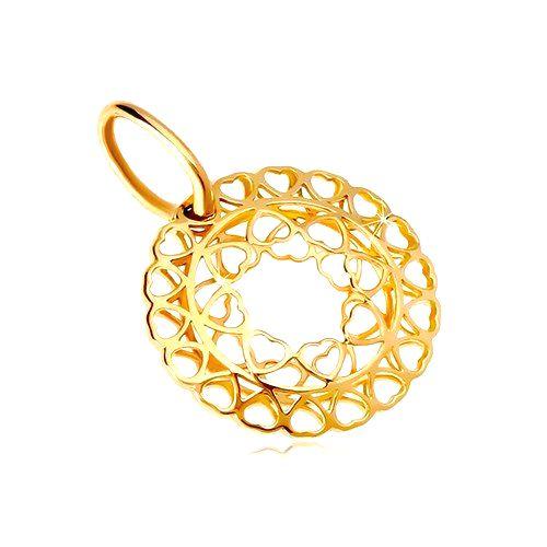 Prívesok zo žltého zlata 585 - kruh zo spojených drobných srdiečok
