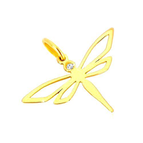 Prívesok zo žltého zlata 585 - lesklá vážka s vyrezávanými krídlami