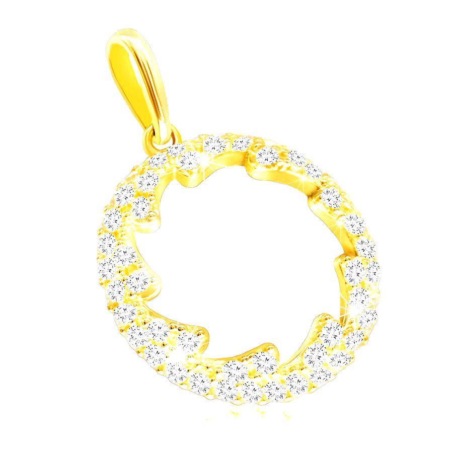 Prívesok zo žltého zlata 585 - obrys kruhu s kvietkovaným výrezom