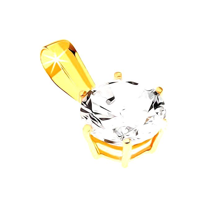 Prívesok zo žltého zlata 9K - ligotavý vybrúsený okrúhly zirkón